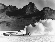 The Blue Flame is shown as it performs test runs just before 30-year-old Gary Gabelich set the new land auto speed record at Bonneville Salt Flats, Utah, on Nov. 4, 1970.  The $500,000 rocket-propelled car, which averages 622.407 miles per hour, is powered by liquified natural gas and hydrogen peroxide propellants. (AP Photo)
