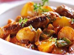 Cheap family meals: Recipes under per head - Easy sausage and potato casserole - goodtoknow Easy Sausage Casserole, Dinner Casserole Recipes, Potatoe Casserole Recipes, Dinner Recipes, Slimming World Sausage Casserole, Potato Recipes, Brunch Recipes, Cheap Family Meals, Cheap Meals