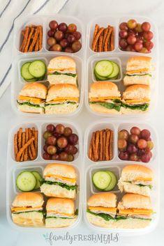 Mini Sandwich Lunchbox Idea Mini Sliders Lunchbox Idea - School lunch from Family Fresh Meals Lunch Meal Prep, Easy Meal Prep, Healthy Meal Prep, Easy Healthy Recipes, Easy Meals, Healthy Cooking, Lunch Box Recipes, Lunch Snacks, Lunch Box Meals