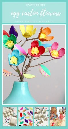 Spring Craft for Kids - how to make this cute flower egg car.-Spring Craft for Kids – how to make this cute flower egg carton craft activity - Easter Crafts For Toddlers, Mothers Day Crafts For Kids, Spring Crafts For Kids, Craft Projects For Kids, Craft Activities For Kids, Toddler Crafts, Art For Kids, Craft Kids, Easter Arts And Crafts