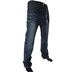 (7942) Mens Casual Vintage Low Rise Straight Washing Jeans