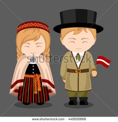 Letts in national dress with a flag. A man and a woman in traditional costume. Travel to Latvia. People. Vector flat illustration.