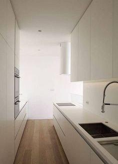 Kitchen , Sophisticated Modern Galley Kitchen : White Modern Galley Kitchen With Electric Range Top And Round Hood And Microwave And…