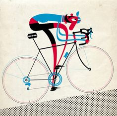 Retro cycling illustration by Mick Marston from Sheffield Retro Bicycle, Bicycle Art, Bicycle Illustration, Illustration Art, Bike Poster, Cycling Art, Bike Design, Illustrations Posters, Illustrators