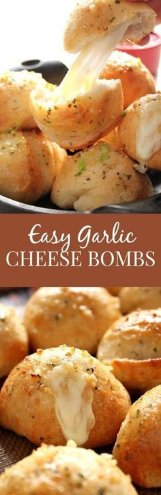 """""""Easy Garlic Cheese Bombs Recipe via Crunchy Creamy Sweet - biscuit bombs filled with gooey mozzarella, brushed with garlic Ranch butter and baked into perfection. Easy, fast and absolutely addicting!"""" The Best Homemade Biscuits Recipes - Quick, Easy and Delicious Bread Sides for Breakfast, Brunch, Lunch and Family Dinner!"""