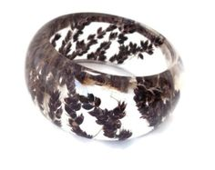 Size Medium Black Sorghum in Resin Jewelry. Botanical Resin Bracelet. Personalized with Engraving. Gifts for Womens