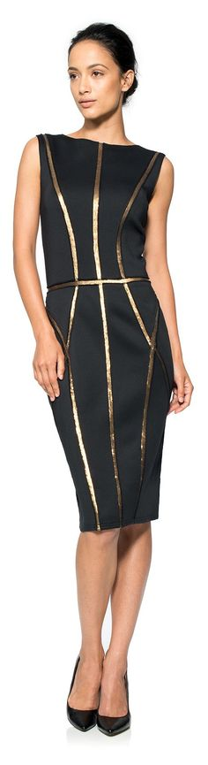 Tadashi Shoji ● Neoprene Boatneck Dress with Paillette Detail  http://thepageantplanet.com/category/pageant-wardrobe/