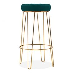 There's a glam decadence to the Delta hairpin bar stool with teal velvet upholstery, ideal for a mid-century modern kitchen or bar. Available in a choice of colours to find a perfect match for your space. The glamorous details of this chic bar stool will work perfectly in modern and contemporary rooms. A round top with buttoned velvet makes it great for adding a chic touch to the kitchen island or dining table while the hairpin legs ground it in mid-century style.