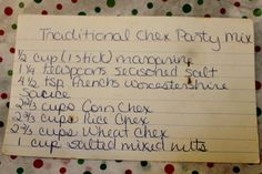 When I was a teen in the chex party mix was all the rage. Every year my mom made the traditional chex party mix for our Christmas Eve party. Chex Party Mix Recipe, Snack Mix Recipes, Yummy Appetizers, Appetizer Recipes, Old Recipes, Texas Trash, Recipe Filing, Hand Written, Recipes