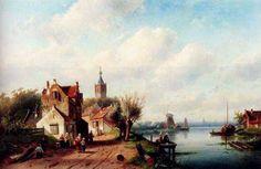 Leickert, Charles Henri Joseph(Belgium): A Village Along A River, A Town In The Distance