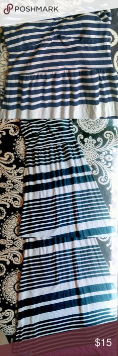 Strapless maxi dress Strapless heart shape neckline Aeropostale long maxi. cute tie detail in the back with little peekaboo cut out. navy blue stripes with cute band of lavender around the bottom. 40 inches in length 11 a half inches across the bus t Aeropostale Dresses Maxi