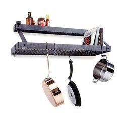 Enclume Premier Bookshelf Wall Pot Rack with Shelf, Hammered Steel >>> Check out the image by visiting the link.