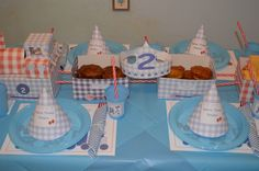 Kids table for the Birthday Train Party! Love gingham details!
