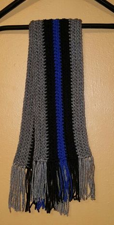 Crochet thin blue line scarf; I  made for my hubby!