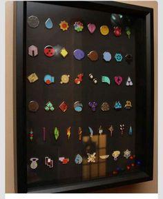 Generation I thru VI Poke'mon gym badges on display. OMG I want this so bad! Pokemon Room, Pokemon Fan, Pokemon Decor, Pokemon Diys, Otaku, Pokemon Gym Badges, Geek Mode, Pikachu, Catch Em All