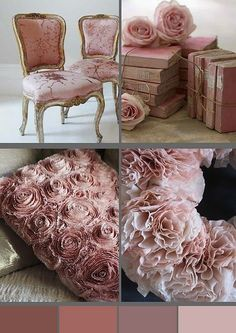 French Country Shabby Chic Pink Home Decor Books Antique Victorian Chair, Color Palette ♥ so beautiful Shabby Chic Colors, Shabby Chic Pink, Shabby Chic Bedrooms, Vintage Shabby Chic, Shabby Chic Style, Shabby Chic Homes, Shabby Chic Furniture, Vintage Furniture, Roses Vintage