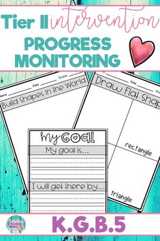 These Tier II Math progress monitoring sheets allow you to progress monitor how your students are progressing toward mastery of the kindergarten standard K.G.B.5; Building and Drawing 2D and 3D Shapes. There are even options for your students to keep track of their own progress and set goals. #mathintervention #tierIImath #tier2math #mathprogressmonitoring #progressmonitoring #drawingshapes #2Dshapes #3Dshapes