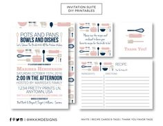 Help the bride to be fill up her kitchen with a Stock the Kitchen Shower. This set includes an invite, recipe cards, a recipe card insert and thank you tag. Set in a navy and blush theme, it would be perfect for a winter or spring bridal shower. Make your shower POP with matching games,