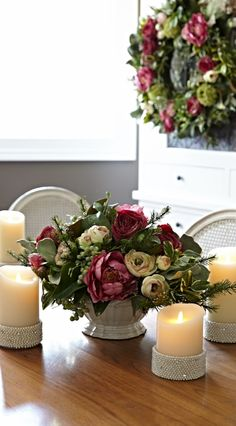 Beautifully transition into the season with fresh shades of marsala and mint on your table. Top off with glittering candles...
