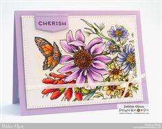 Pure Prairie Bouquet Digital Stamp Set | Power Poppy by Marcella Hawley, card by Debbie Olson.