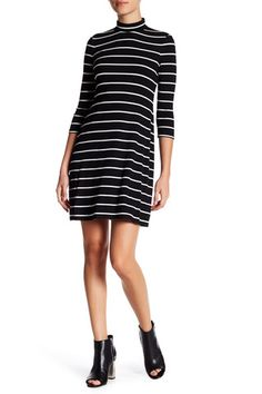 Mock Neck 3/4 Length Sleeve A-Line Dress (Petite)