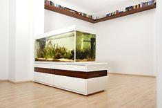 aquarium-raumteiler-luxuriöser-look - im zimmer mit weißer gestaltung