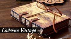 Caderno feito à mão com folhas Kraft Sorteio!   Marina Araújo Scrapbook Vintage, Handmade Books, Leather Journal, Book Binding, Book Crafts, Craft Tutorials, Shadow Box, Mini Albums, Book Art