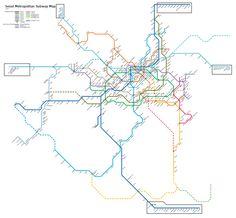 Subway :plan du métro de Séoul, Corée du Sud