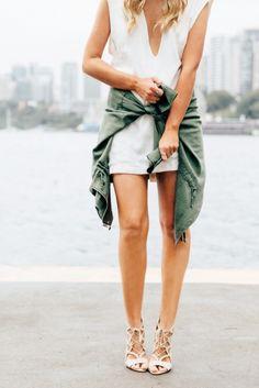 White dress, military jacket/shirt, lace up sandals