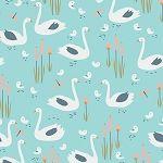 Spring Walk - Swan Family Organic Fabric - Turquoise