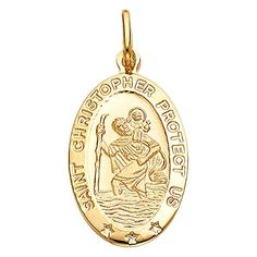 14k Yellow Gold Religious Saint Christopher Medal Charm Pendant 18 x 11 mm ** Find out more about the great product at the image link.