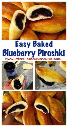 Baked Not Fried! A Sweet Dough Russian Hand Pie Filled with Blueberries, made so much quicker with this easy bread maker yeast dough recipe. Easy Baked Blueberry Piroshki (Пирожки в духовке с голубикой) Ukrainian Recipes, Russian Recipes, Czech Recipes, Fruit Recipes, Dessert Recipes, Desserts, Blueberry Recipes, Bread Recipes, Breakfast Recipes