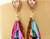 #EstyloContest SALE 10% Vitrail Light Swarovski Earrings, Drop Briolette Crystal Jewelry, Sterling Silver Post, Cubic Zirconia Drop CZ - Pink Bridesmaid E