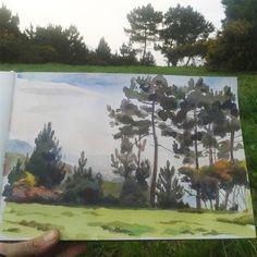 CATALINA  Landscape watercolour drawing