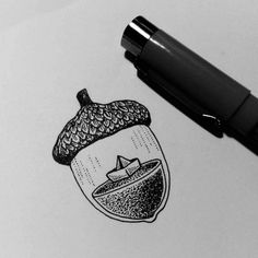 I'd like this acorn but with a squirrel inside! Creative drawing by @kimbeckerdesign