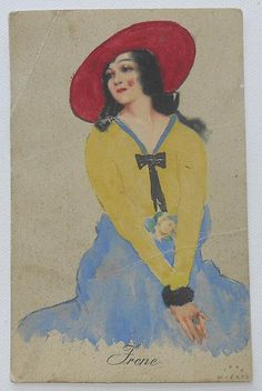 Early Jupp Wiertz Postcard, Girl in Red Hat, Yellow and Blue Outfit 'Vogue in Style' - Meissner Buch Serie 2461