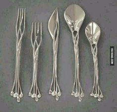 Funny pictures about Elven Cutlery Set. Oh, and cool pics about Elven Cutlery Set. Also, Elven Cutlery Set photos. Art Nouveau, Art Deco, Design 3d, House Design, Print Design, 3d Prints, Flatware Set, Silverware Sets, Wedding Silverware