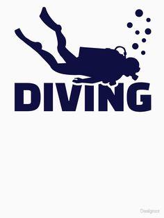 'Diving' T-Shirt by Designzz Diving Logo, Scuba Diving Quotes, Under The Ocean, Sea And Ocean, Vespa Illustration, Pesca Sub, Diver Tattoo, Deep Sea Diver, Underwater Sea