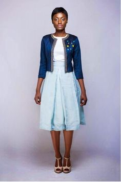 Ghanaian Bello S/S16. #Fashion #Design #GhanaianBello #Shadesofblue #Floweraccents #SS16 - curated by @ethicalfashion1