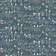 Add a whimsical flair to rooms with this darling Scandinavian wallpaper. Its lively botanical pattern, featuring red strawberries and blue violets, pops against a navy background. Strawberry Field is an unpasted, non-woven blend wallpaper. Field Wallpaper, Navy Wallpaper, Plant Wallpaper, Geometric Wallpaper, Wallpaper Samples, Blue Wallpapers, Wallpaper Roll, Pattern Wallpaper, Blue Backgrounds