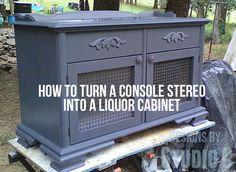 Console Stereo into a Liquor Cabinet
