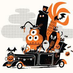 Halloween Illustration, Retro Illustration, Graphic Design Illustration, Halloween Clipart, Halloween Art, Vintage Halloween, Halloween Design, Invitation Halloween, Origami