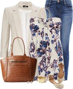 floral top with a neutral jacket
