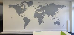 Extra Large World Map wall sticker, full wall covering with cut vinyl and pins to place on the map. Vinyl Impressions