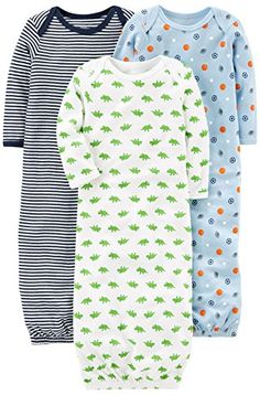 Simple Joys by Carter's Boys Baby Cotton Sleeper Gown, Blue/White, Newborn: A three-pack of long-sleeve gowns are made with cuddle-ready cotton and playful prints. Baby Boy Swag, Baby Boy Shoes, Baby Boy Outfits, Kids Outfits, Carters Baby Clothes, Carters Baby Boys, Babies Clothes, Baby Girls, Little Boy Fashion