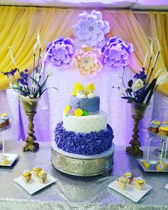 A Purple and Yellow Baby Girl Shower! See more party ideas at CatchMyParty.com