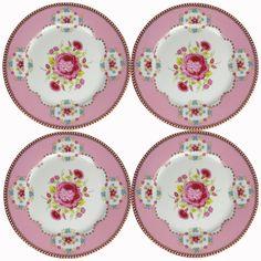 Set of 4 Pip Studio Amsterdam 7 Inch Pink Porcelain Plates