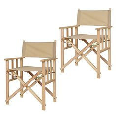 Costway 2PC Folding Makeup Director Chairs Poplar Wood Camping Fishing Black / Beige