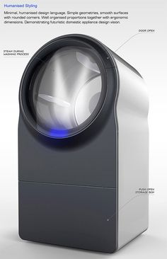 The future of washing machine - Innova washer-dryer concept, designed to use steam for cleaning, consumes much less water compared to the current washing machines. (A retro technology for the future. Cool Technology, Technology Gadgets, Innovation, Domestic Appliances, Steam Cleaning, Yanko Design, Machine Design, Washer And Dryer, Cool Gadgets