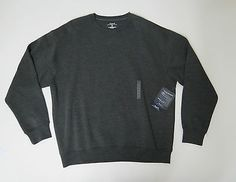 Roundtree & Yorke Sport Mens Dark Grey Crew Neck ProLuxe Fleece Sweater Sz XL
